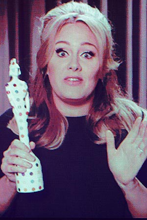 Adele on Screen at Brit Awards 2013