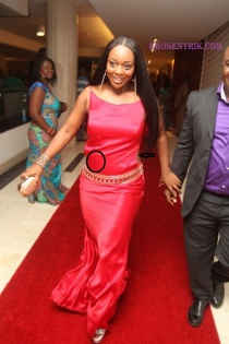 Jackie Apiah: Worst Dressed Nominee, red on a red carpet is not the best idea...however, it depends on the shade of red you're wearing. But in this case sorry, it's a no no for us. Your tummy needed to be tucked in properly with an invisible Tummy Trimmer. For your size that dress is not for you.