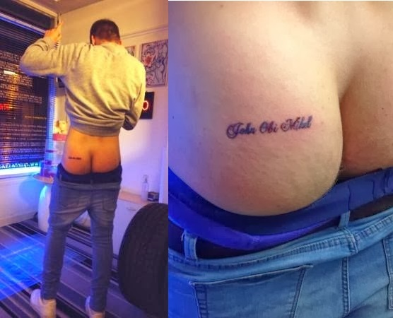 Lee Mitchell Chelsea Fan With Mikel Obi's name On Bum