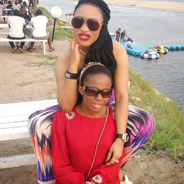 Tonto and Onyinye at the beach