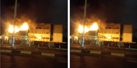 PDP National House Caught Fire