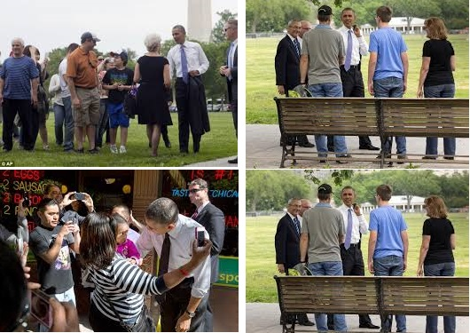 Obama Takes a street walk